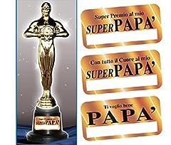 Idea Regalo - TROFEO PAPA' - Premio oscar in plastica h 29 cm, Gadget idea regalo per la Festa del Papà