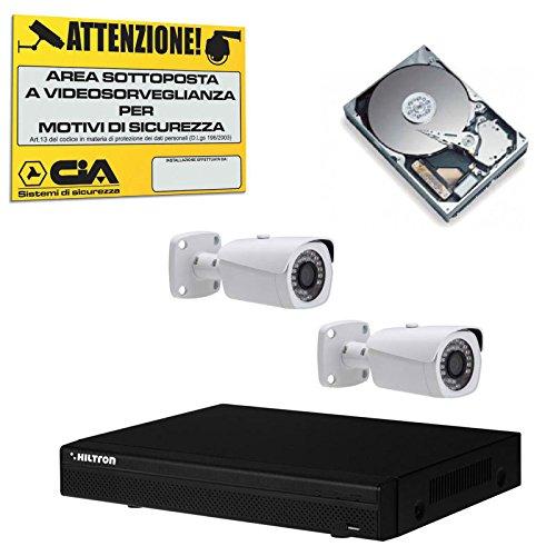 Kit Videosorveglianza Hiltron Antifurto DVR 4 Canali HDCVI 1 Hard Disk e 2 Telecamere THK2410HD