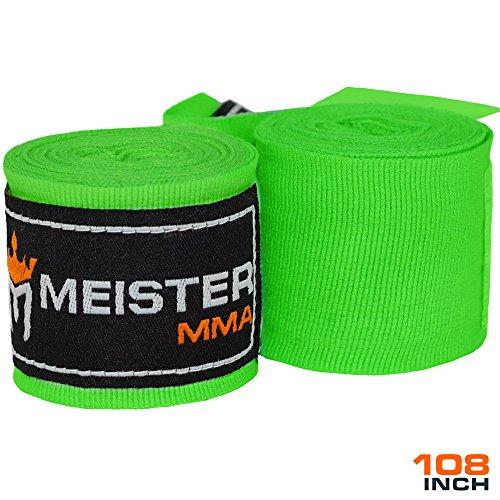 Meister Junior 274cm elastische Handbandagen für MMA & Boxen, 1 Paar - Neongrün