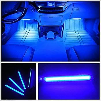 Car LED Strip Light EJ s SUPER CAR 4pcs 36 LED Car Interior Lights Under Dash Lighting Waterproof Kit,Atmosphere Neon Lights Strip for Car,DC 12V Blue