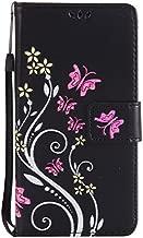 NEXCURIO [Embossed Flower] LG K20 Plus / K20 V/Harmony/Grace LTE / K10 (2017) / V5 Wallet Case with Card Holder Folding Kickstand Leather Case Flip Cover for LG K20 Plus (Black)