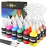 Magicfly 3D Fabric Paint, 24 Colors Permanent Textile Paint with 3 Brushes and Stencils, Permanent Fabric Paint with Fluorescent, Glow in The Dark, Glitter, Metallic Color for Clothing, T-Shirt, Glass