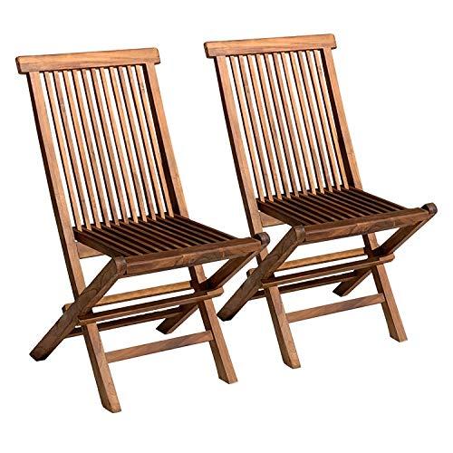 BENEFFITO SALENTO - Lote de 2 sillas de jardín Plegables de Teca barnizadas - Robusta y Resistente a la Intemperie - Teca certificada Indonesia - X2
