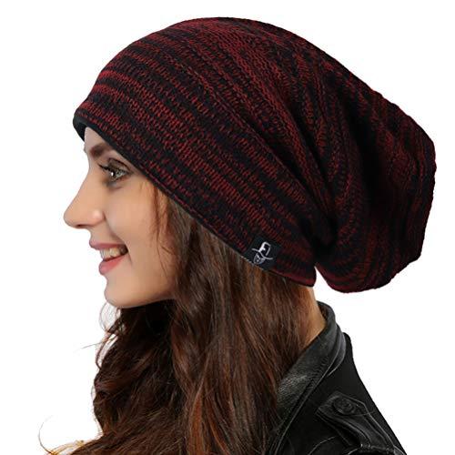 Ruphedy Femme Bonnet Long Slouch Beanie Tricoté Hiver Chapeau B08 (B5001-Bordeaux)