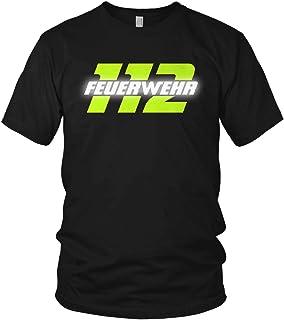 vanVerden Feuerwehr - 112 Reflektierend & Neon Gelb - Ausrüstung Ehrenamt Freiwillige Feuerwehr Spruch Motiv - Herren T-Shirt und Männer Tshirt