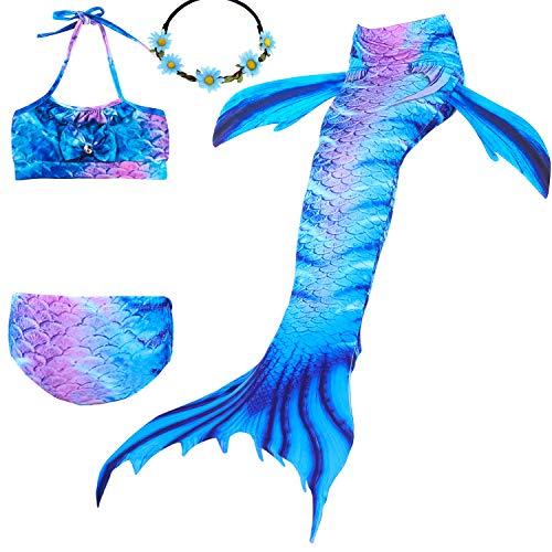 UrbanDesign Traje De Baño Disfraz Cola De Sirena Niña con Bikini para Nadar, 5-6 años, Tierra Azul