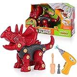 SHANNA Juguete de Dinosaurio Juguete de Montaje con Taladro Eléctrico Dinosaurio Juego Construccion Puzzle Dinosaurios Juguetes Multijugador Regalos para Niños (Estilo C)