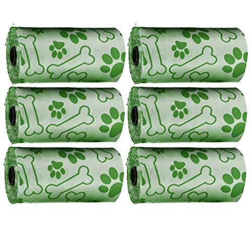 Pet Touch Lot de 60 sacs de recharge pour chien avec sac de rangement pour chien Vert 6 rouleaux 120 sacs
