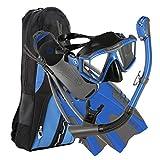 U.S. Divers Lux Mask Fins Snorkel Set Compatible with GoPro, Electric Blue, Large/X-Large