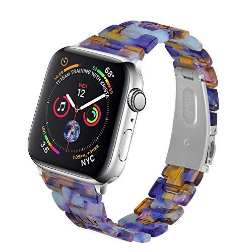 Fhony Correa de Repuesto Compatible con Apple Watch Band 38mm 40mm 42mm 44mm Correa de Repuesto de Pulsera de Resina Ligera para Iwatch Series SE/6/5/4/3/2/1,Blue Ice Ocean,38/40mm