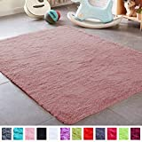 PAGISOFE Blush Fluffy Shag Area Rugs for Girls Bedroom 3x5, Cute Small Soft Fuzzy Shaggy Rugs for Kids Room Furry Carpet Dorm Rugs