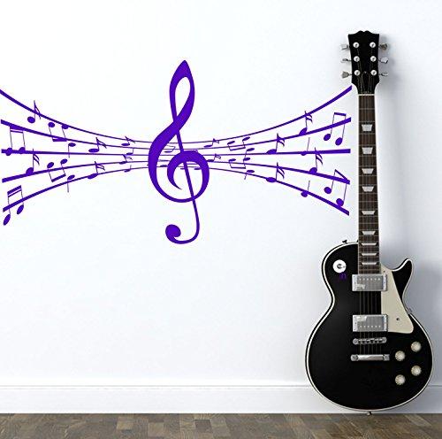 DesignDivil Portée Musicale avec Notes. QUALITÉ Art Vinyle Mat Musique en. 6 Options de Couleur. Violet Violet