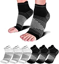 Compression Socks Sleeves (6 Pairs) for Heel Pain Relief, Best Compression Foot Sleeves Nano Socks with Arch Support for Plantar Fasciitis, Heel Pain, Foot & Ankle Support