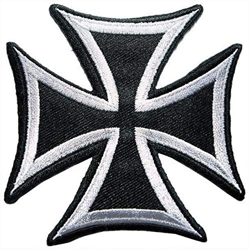 Patch Portal Maltese Cross Fire Large Badge Emblem 8 Inches Embroidery Design Black White Gothic Celtic Sign Tattoo Pattern Embroidered Back Patches Biker Motorcycle DIY Applique Iron on Jacket Vest
