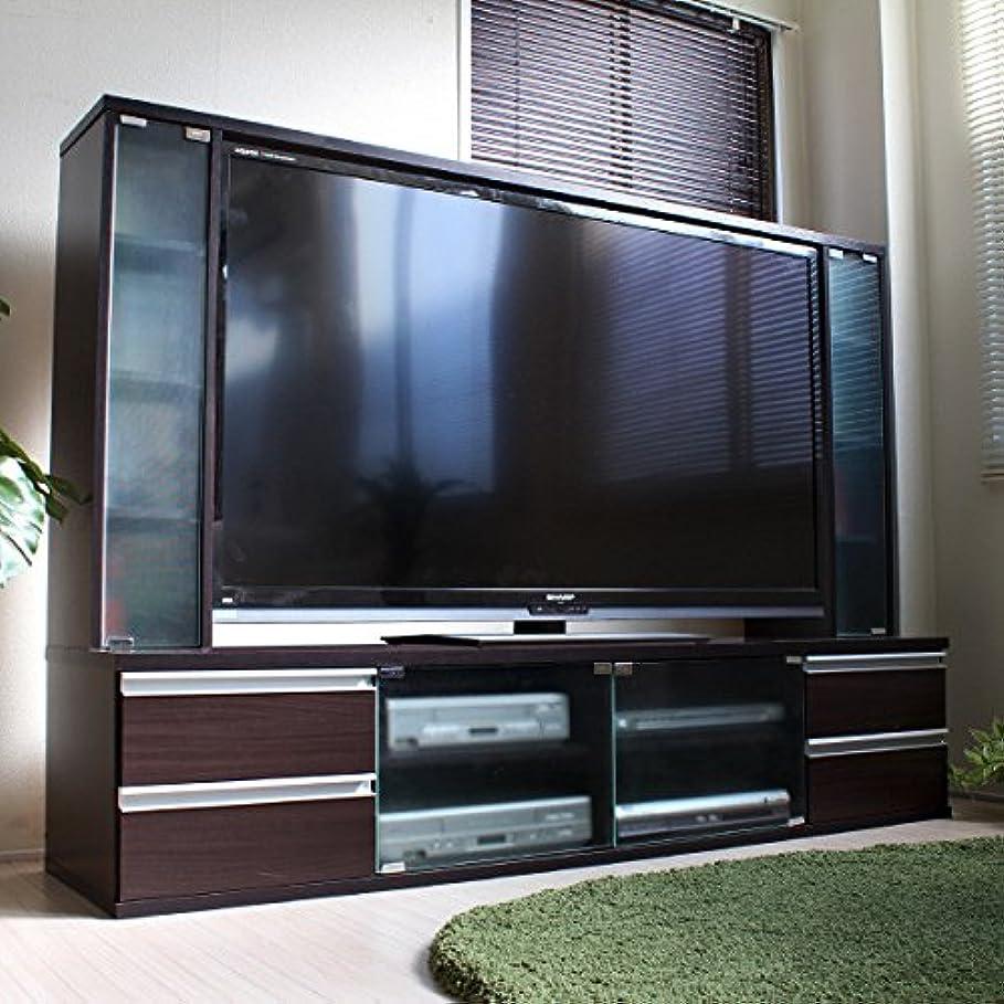 ヒョウ古くなった伝染性のテレビ台 ハイタイプ 60インチ TV台 テレビラック ゲート型AVボード TVボード AVボード アルミ取っ手 ガラス (ダークブラウン)