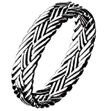 ANAZOZ Unisex Sterling Silber Ring Weben Muster Verlobungsring Bandring Herrenring 925 Silber Rubin Größe 53.4