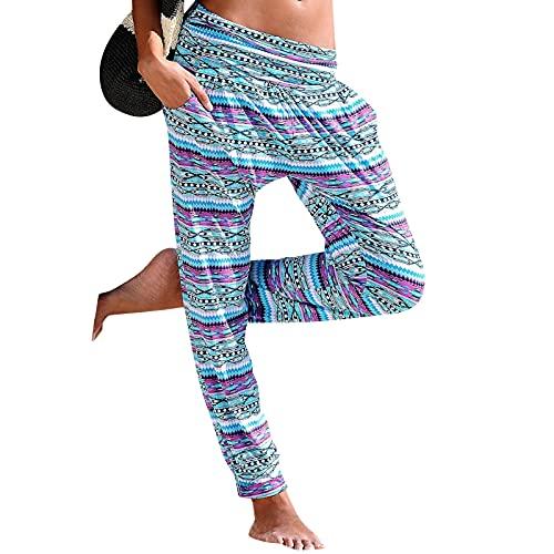 riou Pantalones de Lino de Algodón para Mujer Pantalones de Pierna Ancha Pantalones de Entrenamiento Holgados con Bolsillos, Pantalones Holgados de Mujer con Elástico