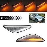 Luz de señal de giro dinámica LED indicador lateral repetidor lateral luz intermitente marcador lateral secuencial compatible con BMW E70 E71 X5 E72 X6 F25 X3 2007-2012 lente transparente