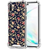 UZEUZA Funda para Samsung Galaxy Note 10+ Transparente Parachoques Cubierta Anti-Arañazos Bordes Transparente con Flor Papel Pintado