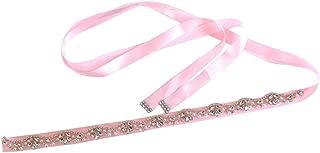 Baosity Rhinestones Bridal Belt Wedding Prom Diamante Satin Ribbon Sash Waistband