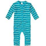 WELLYOU, Pijamas, Pijamas para niños y niñas, una Pieza de Manga Larga, niños pequeños, Color Azul Turquesa con Rayas Blancas 100% algodón. Tallas 56-134 (116-122)