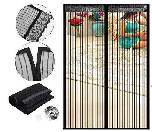 Emwel - Zanzariera magnetica per porta, chiusura magnetica, per balcone, soggiorno, terrazza, 140 x 240 cm, montaggio adesivo senza fori
