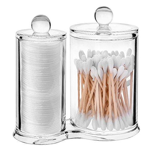 ASIV, Organizzatore 2 in 1 acrilico con coperchio, per batuffoli e bastoncini di cotone, trasparente