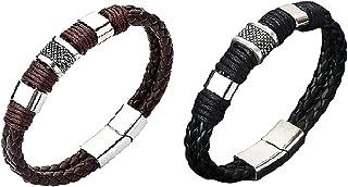 2pcs Magnetic Man Charm Masculinity Leather Bracelet, Mens Braided Leather Bracelet, Wrist Band Cuff Wrap Couples Bracelet...