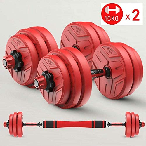 Suge Hantel Hand Gewicht Barbell Perfect 2 in 1 Hebe Dumbells, Einstellbarer Barbell, Haushalt Gym Fitness Hantel 66LB (Color : Red)