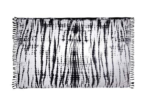 MANUMAR Damen Pareo, Sarong Strandtuch, XXL 220x115cm,wandteppich, boho, tie dye, batik tuch, schwarz, weiß, wandbehang, Handtuch Sommer Kleid im Hippie Look, für Sauna Hamam Lunghi Bikini
