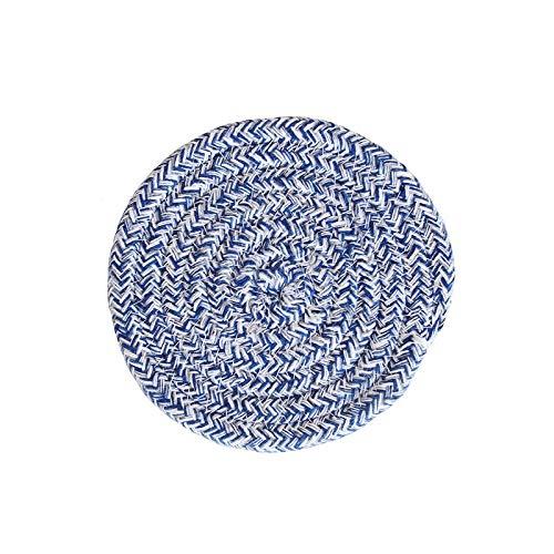 Manyao Handarbeit Baumwolle Seil Platzdeckchen Hand gesponnene Tischsets Servietten Geschirr Getränk Cup Coaster Isolierung Pad Küche Abendessen Wohnkultur (Color : Blue, Size : Round)