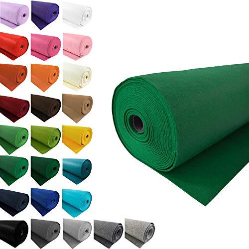 maDDma Bastelfilz 1m Meterware Filz 90cm x 3mm Dekofilz Taschenfilz Filzstoff 26 Farben, Farbe:grün