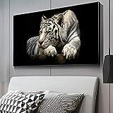 MJKLU HD Africano Animal Salvaje Rey Bestia Tigre Lienzo Pintura Pared Arte Cartel Impresiones Dormitorio Sala de Estar Entrada Oficina Estudio decoración del hogar