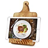 Sapine Adjustable Cookbook Stand for Kitchen Counter iPad Tablet Recipe Book Holder, Rustic Wood Cookbook Holder Cutting Board Style
