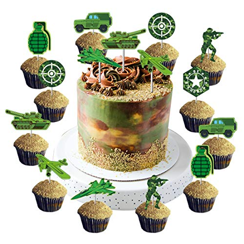 Camo Cupcake Toppers Camouflage Cake Decorations for Army Soldier Military Themed Birthday Party Baby Shower Supplies 24Pcs