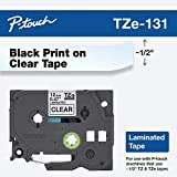 Brother Genuine P-touch TZE-131 Tape, 1/2' (0.47') Standard Laminated P-touch Tape, Black on Clear, Perfect for Indoor or Outdoor Use, Water Resistant, 26.2 Feet (8M), Single-Pack
