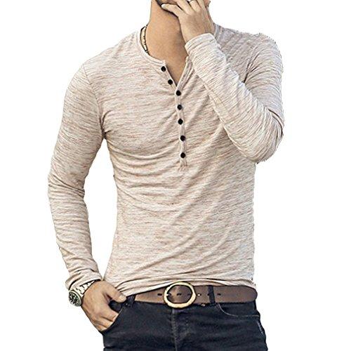 Camiseta de Manga Larga Slim con Cuello en V Camisa Casual Otoño Botones Camisa 3 Color M-2XL