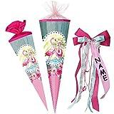 alles-meine.de GmbH Schultüte -  Flamingo & Blumen - gepunktet  - 22 cm - rund - incl. individueller _ großer Schleife - mit Namen - mit Tüllabschluß - Zuckertüte - mit / ohne ..
