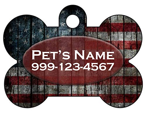 American Flag Pet Id Dog Tag | Rustic Flag | Customized with Your Pet's Name & Number