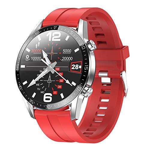 YNLRY Reloj inteligente para hombre, Android, resistente al agua, reloj inteligente, deportivo, para teléfono, iPhone, iOS, Huawei (color: sílice roja)