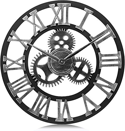 DXMGZ Reloj de Pared de Engranaje De Plata Industrial Grande, Reloj de Cuarzo de Madera Silencioso XXL con Números Romanos, Reloj de Pared Vintage de Decoración de Pared Silver 40CM