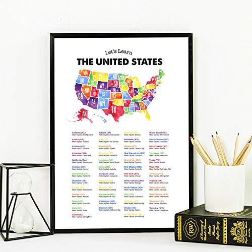 Carteles de mapa y capitales de Estados Unidos lienzo pintura de Estados Unidos impresiones artísticas de pared de Estados Unidos imágenes educativas para pared decoración del hogar 40x60 cm sin marco