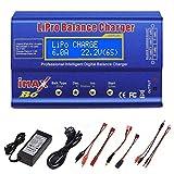 RUIZHI Cargador LiPo de 80 W 6A balance profesional cargador de alta potencia para LiPo/Li-Ion/LiFe (1-6S), NiMH/NiCd (1-15S), cargador RC de LED con fuente de alimentación
