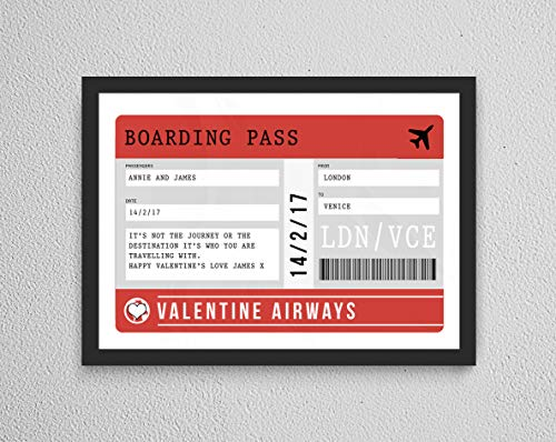 Gepersonaliseerde Valentijnsdag Vliegtuig Boarding Pass Verjaardagscadeau Paar Verjaardag/Verloving Bruiloft Print - Special Couple Keepsake Gift A3 with frame Kleur: wit