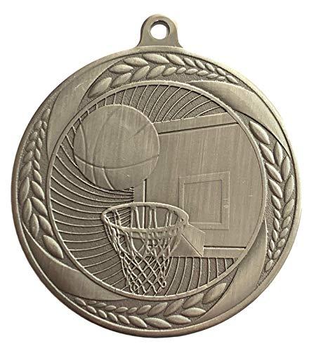 Emblems-Gifts - Medalla de baloncesto de plata grabada (55 mm, con cinta de purpurina roja, azul y blanca)