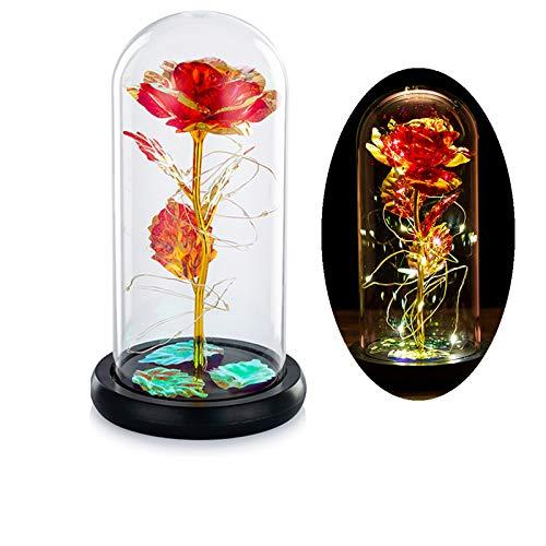 Die Schöne Und Das Biest Rose In Glaskuppel Mit Warmweißen LED-Lichtern Ewiges Kristallrosenblumengeschenk Verzaubertes Geschenk Für Immer Zum Geburtstag Für Sie Zum Jubiläum Valentinstag Hochzeit