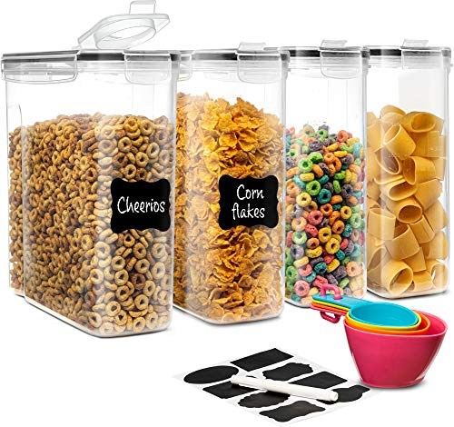 Cereal Container Storage Set (4-Pack) | Cereal Dispensers with Airtight, Leakproof Lids | BPA Free Plastic Food Saver Canisters | Includes Chalkboard Labels, Marker & Measuring Cups | 135.2 oz.
