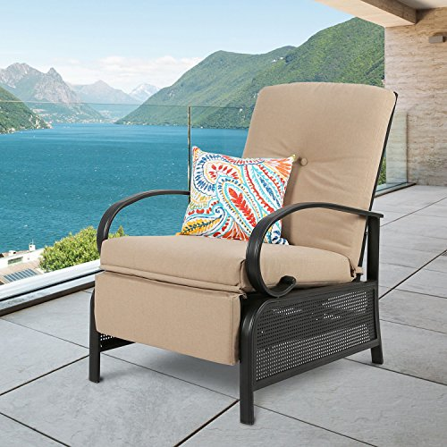 Ulax Furniture Patio Recliner Chair Automatic Adjustable Back Outdoor...