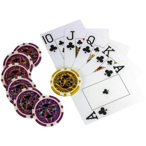 Ultimate Black Edition Pokerset, 300 hochwertige 12 Gramm METALLKERN Laserchips, 100% PLASTIKKARTEN, 2x Pokerdecks, Alu Pokerkoffer, 5x Würfel, 1x Dealer Button, Poker, Set, Pokerchips, Koffer, Jetons - 8