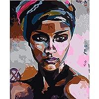 キャンバスプリント壁アート画像抽象女性キャンバスアートポスターとプリント黒人の女の子壁アート写真のキャンバス絵画家の壁の装飾-A_50X70Cm_Unframed